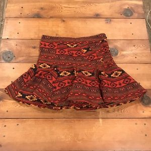 BCBGeneration Tribal Print Flared Mini Skirt
